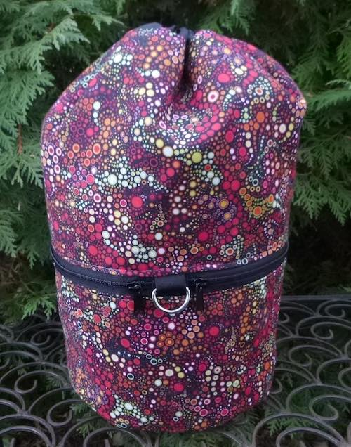 Red Effervescence knitting project bag, large Kipster