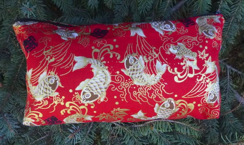 White Koi on Red Large Zini Flat Bottom Bag-CLEARANCE