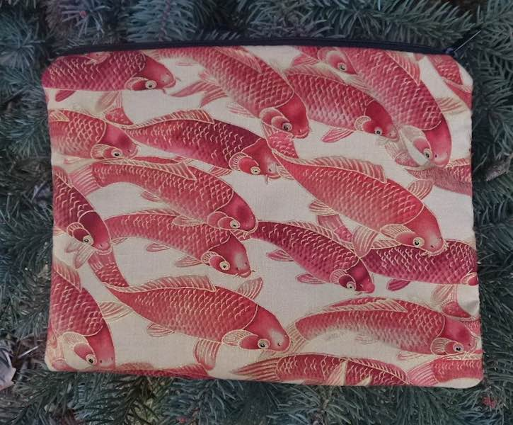 Red Koi Slide Mahjongg card and coin purse