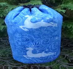Reindeer Blue Batik SueBee Round Drawstring Bag