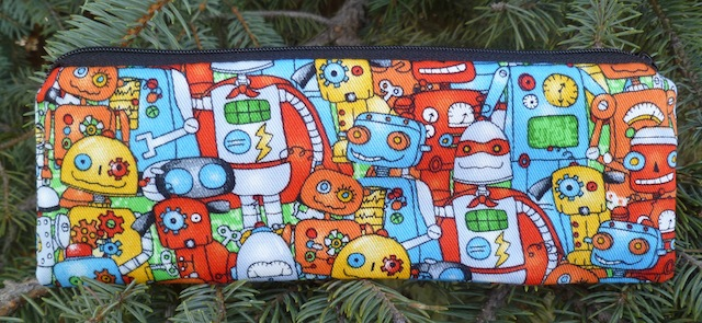 Robot pen and pencil case, crochet hook pouch, The Scribe