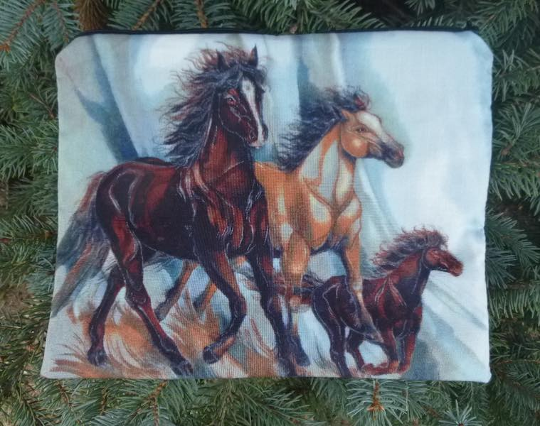 Running Horses Supa Scribe extra large pencil case or makeup bag