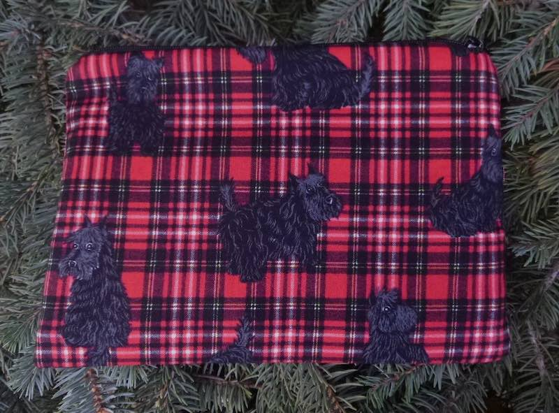 Scotties on Plaid zippered bag, The Scooter