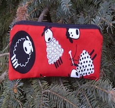 Knitting sheep on red pen and pencil case, crochet hook pouch, The Scribe