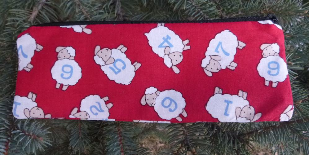 Sheep by the Numbers pen and pencil case, crochet hook pouch, The Scribe
