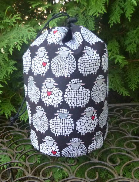 Sheepish Smile SueBee Round Drawstring Bag