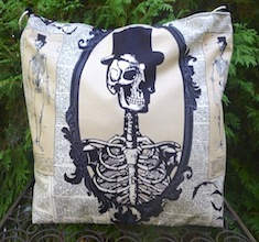 Skeleton Cameo Britta zippered tote-CLEARANCE