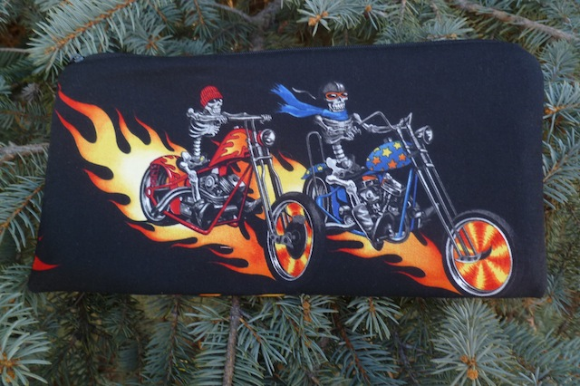 Skeletons on Bikes Zippered pouch for game card decks, The Carder