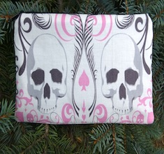 Pink Skull Scroll Deep Scribe pen and pencil case