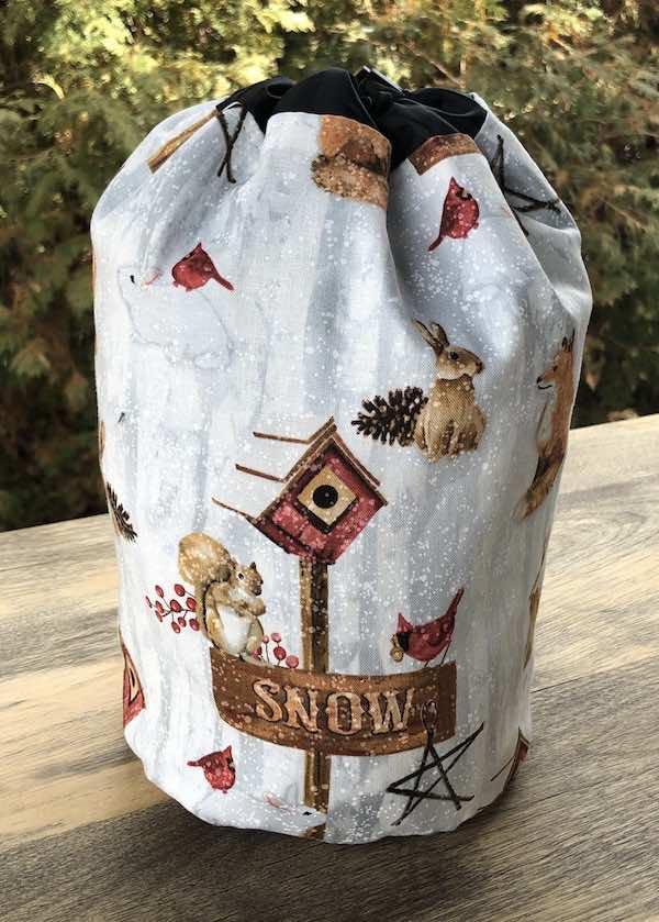 Snow Day SueBee Round Drawstring Bag