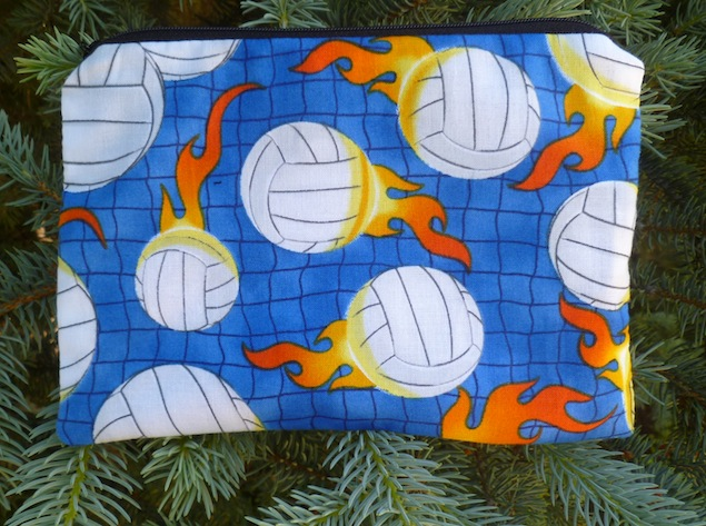 Volleyballs on blue zippered bag, The Scooter