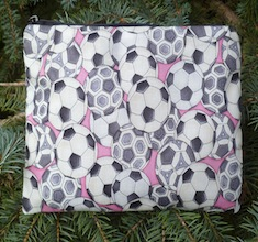 Soccer balls on pink  Zippered Bag, The Scooter