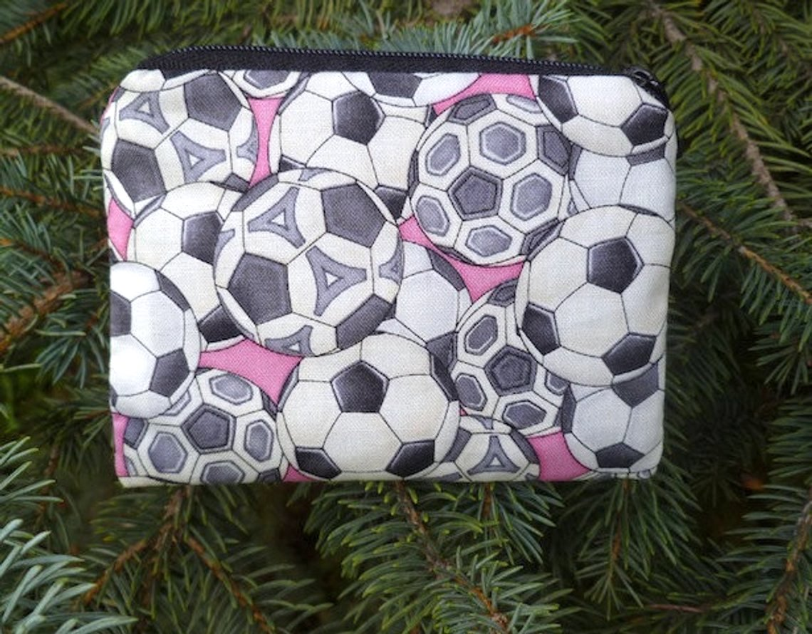 Soccer balls on pink coin purse, The Raven