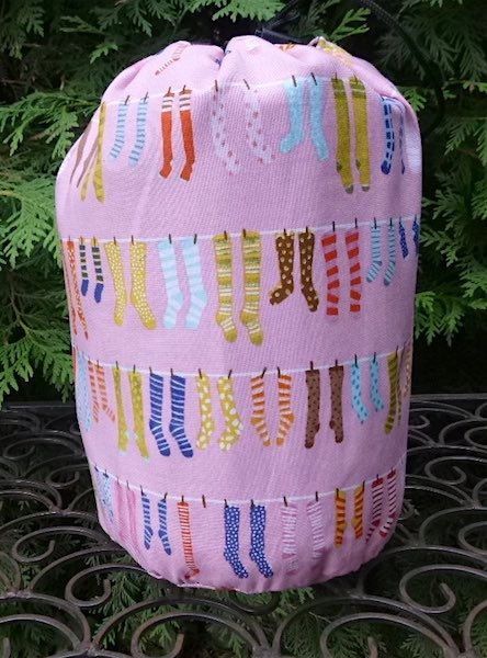 Socks on the Line SueBee Round Drawstring Bag