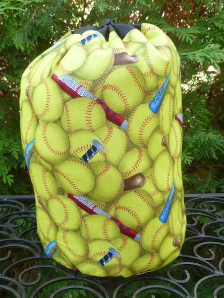 Softball SueBee Round Drawstring Bag