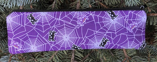 Spiders on purple zippered pouch for chopsticks, knitting needles or crochet hooks, The Sleek