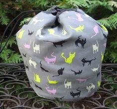 Spooky Cats SueBee Round Drawstring Bag