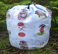 Stylish Sheep SueBee Round Drawstring Bag