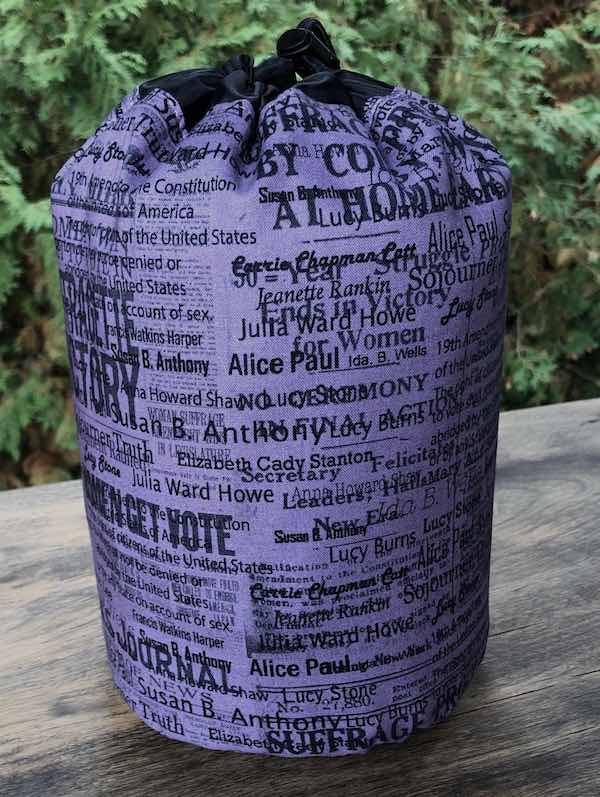 Suffragettes SueBee Round Drawstring Bag - celebrating 100 year anniversary of the 19th Amendment, women's voting rights