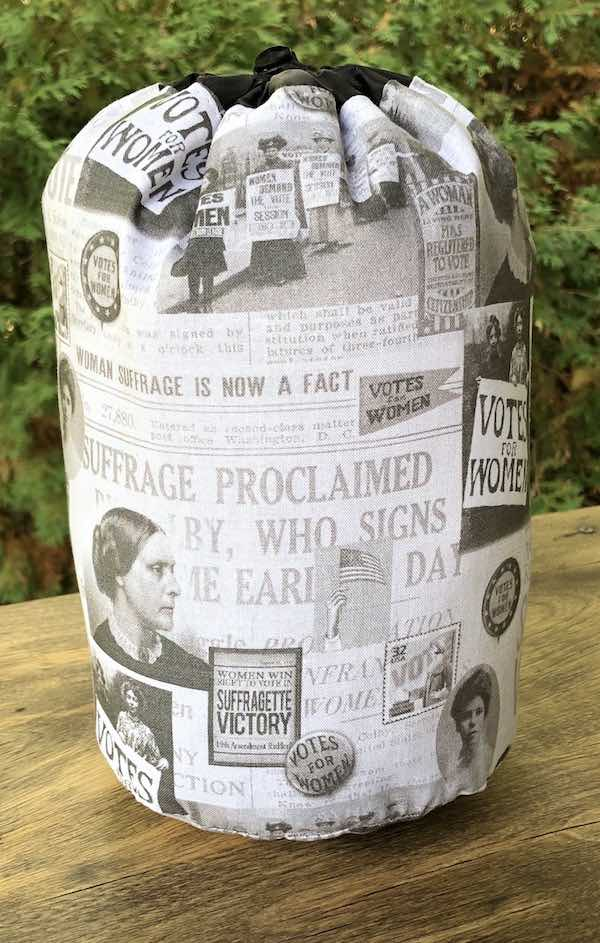 Suffragette Victory SueBee Round Drawstring Bag - celebrating 100 year anniversary of the 19th Amendment, women's voting rights