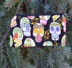 Pick your color sugar skull Pen and Pencil Case, The Scribeor crochet hook pouch,