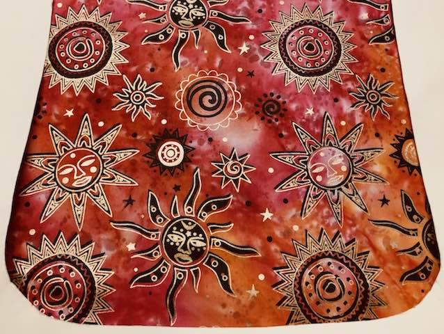 Suns on red batik Pick your Size Morphin Messenger Bag Flap