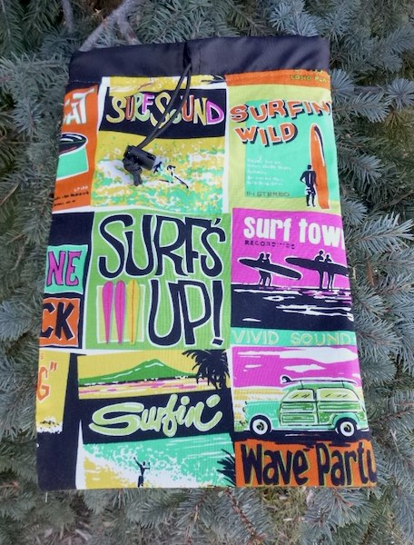 Surf's Up Flatie Jr. a flat drawstring bag