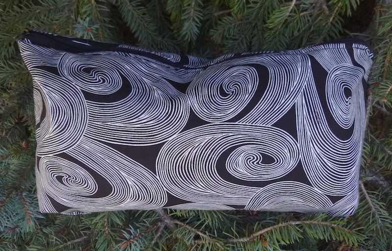 Black and White Swirls Large Zini Flat Bottom Bag