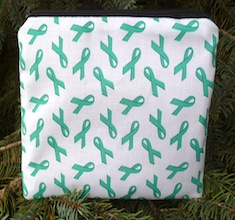 Teal awareness ribbons zippered bag, The Scooter