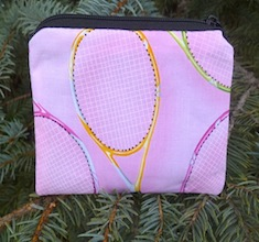 Tennis racquets on pink Coin Purse, The Raven