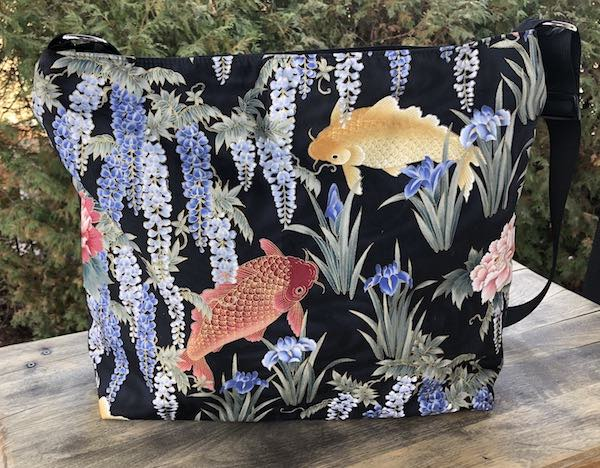 Two Koi and Wisteria Britta large zippered cross body purse