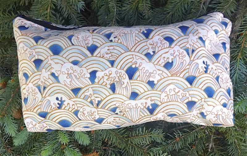 Blue and White Waves Large Zini Flat Bottom Bag