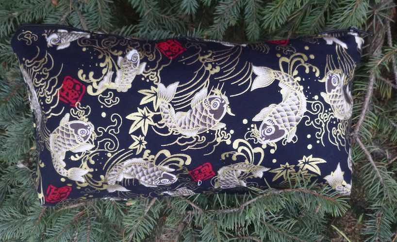 Japanese koi on black, the large Zini flat bottom bag