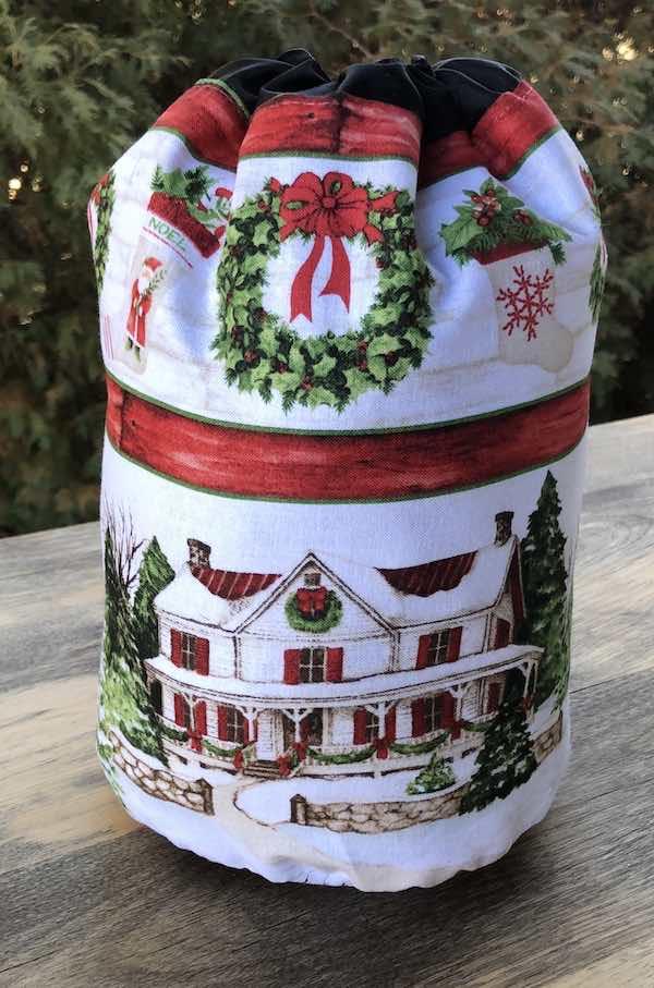 Winter Farm Stripe SueBee Round Drawstring Bag