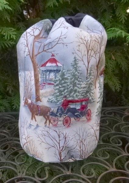Victorian Winter SueBee Round Drawstring Bag