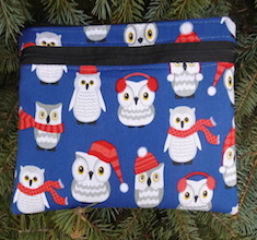 Winter Owls Morning Glory convertible clutch wristlet or shoulder bag-CLEARANCE