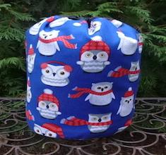 Winter Owls SueBee Round Drawstring Bag