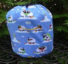 Winter Sheep SueBee Round Drawstring Bag