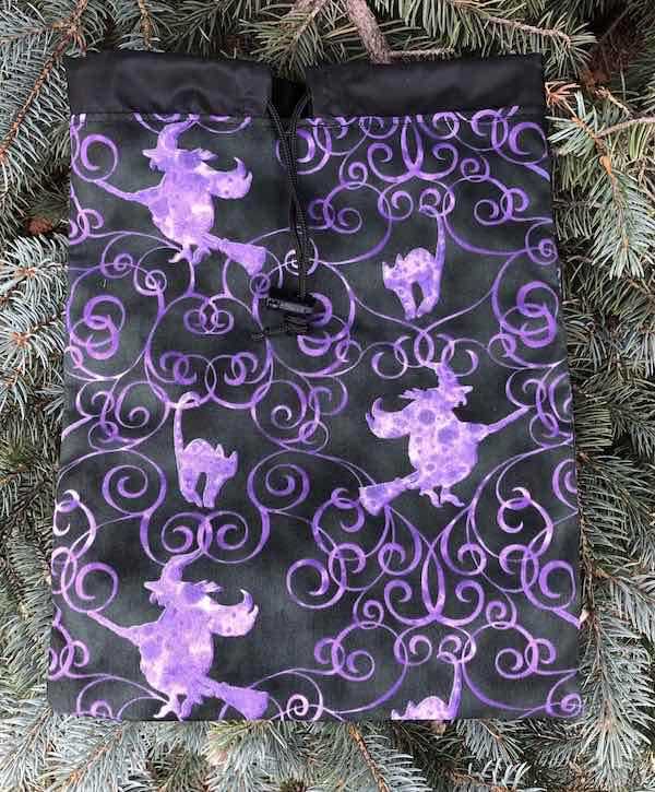 Witches and Cats Flatie Jr. a flat drawstring bag