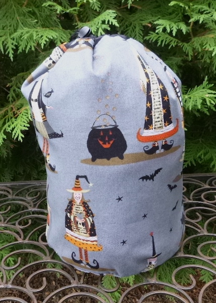 Witchy SueBee Round Drawstring Bag