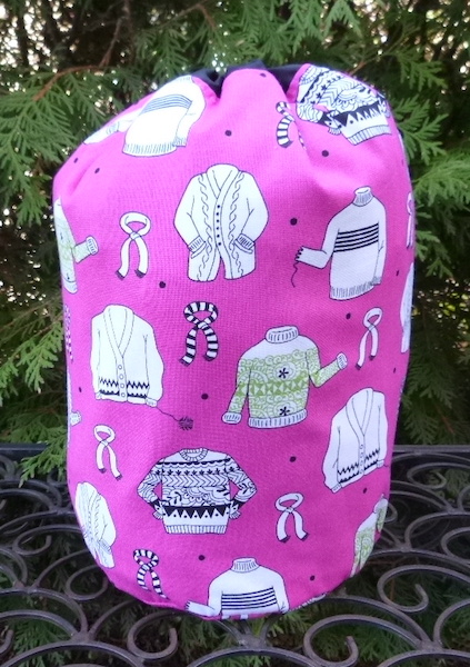 Wool Ewe Sweaters pink or green SueBee Round Drawstring Bag